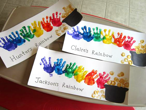 St. Patrick's Day Rainbow Handprint Art