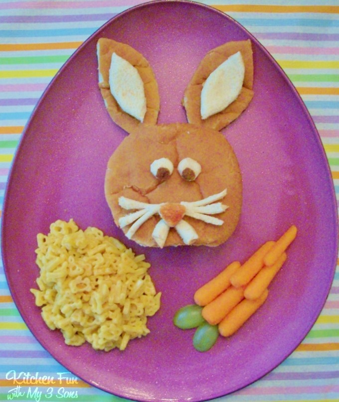 Easter Bunny Burger Dinner for Kids from KitchenFunWithMy3Sons.com