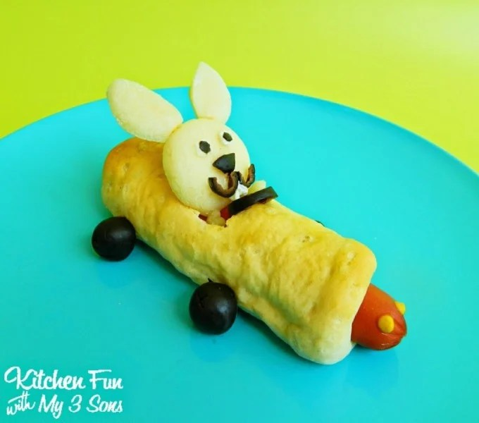 Easter Bunny Race Car Hot Dogs from KitchenFunWithMy3Sons.com