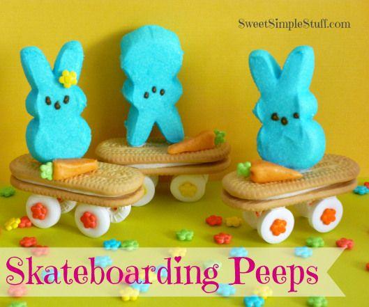 Skateboarding Peeps Bunny Cookies