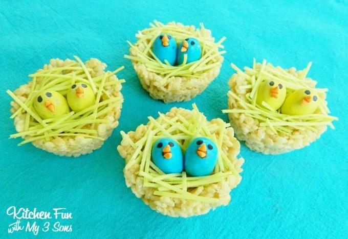 Rice Krispie Treat Baby Bird Nests