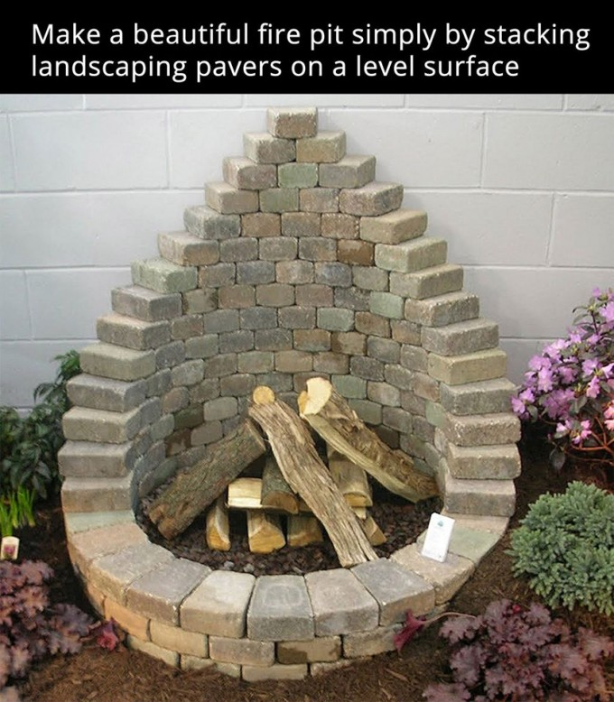 Stack Pavers to make a Firepit...these are awesome DIY Garden & Yard Ideas!