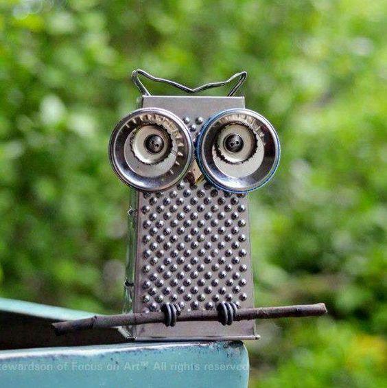 Cheese Grater Owl Yard Art