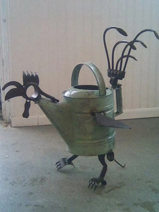 Rooster Watering Can Yard Art