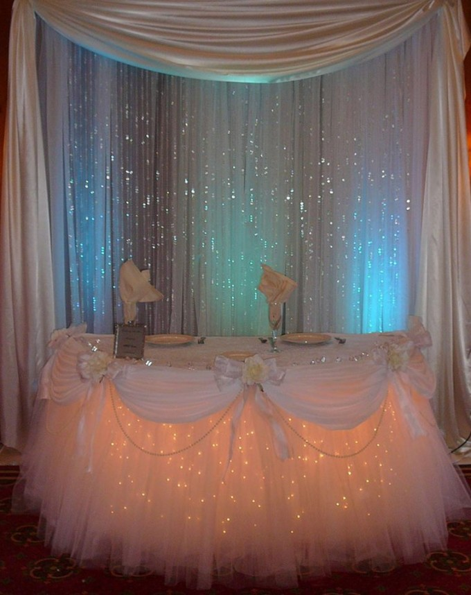Party or Wedding Table Decorated in Tulle & Lights...these are the BEST Party Decorating Ideas!