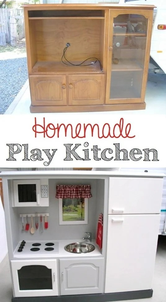 Turn a Entertainment Center into a Play Kitchen...awesome Upcycle Ideas!