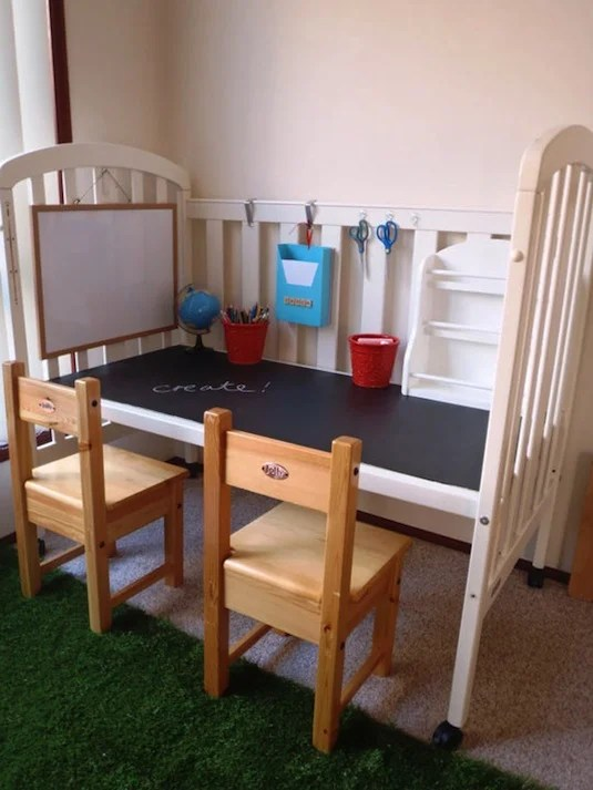 Turn a Crib into a Kids Desk...awesome Upcycle Ideas!