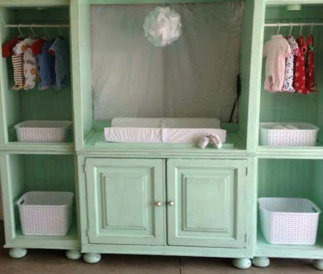 Turn An Old Entertainment Center Into A Baby Station Awesome Upcycled Ideas