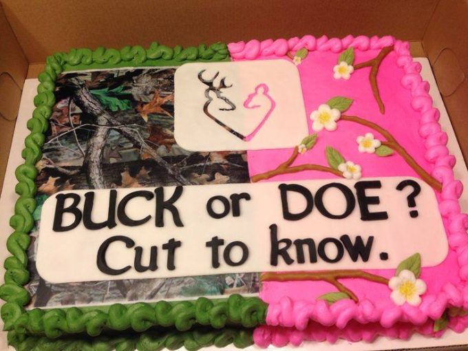 Buck or Doe Gender Reveal Cake...these are the BEST Baby Shower Ideas!