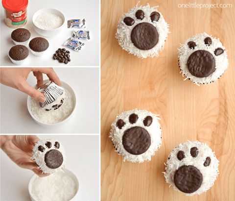 Easy Polar Bear Paw Cupcakes...these are the BEST Cupcake Ideas!