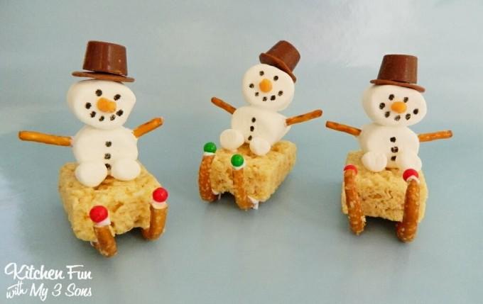 Christmas Snowman Sleigh Rice Krispie Treats