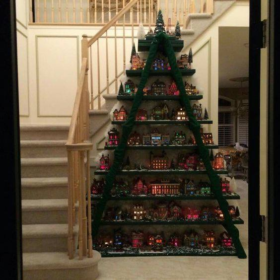 Christmas Village Tree made with a Ladder