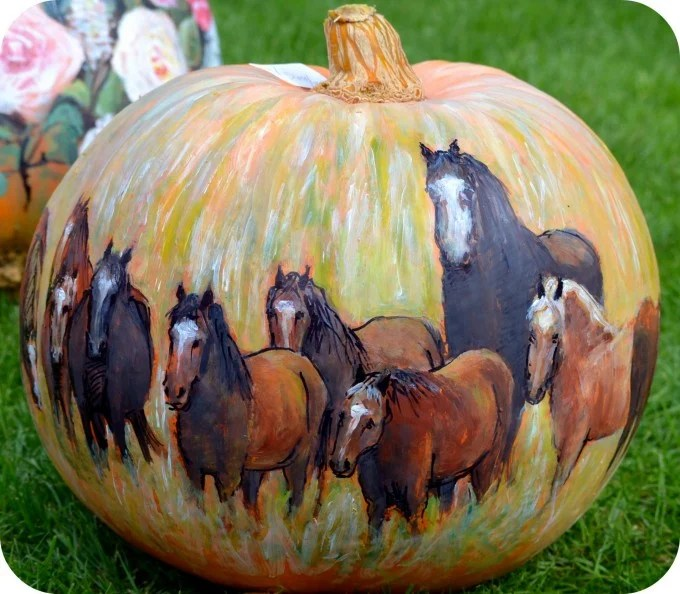 Painted Horses Pumpkin... the BEST DIY Carved & Decorated for Halloween!