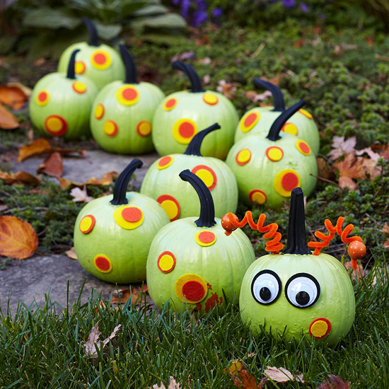Caterpillar Pumpkins...these are the BEST DIY Carved & Decorated Pumpkin ideas for Halloween!