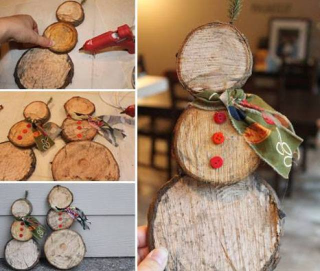 Easy Snowman Log Slice Decoration These Are The Best Homemade Christmas Craft Ideas