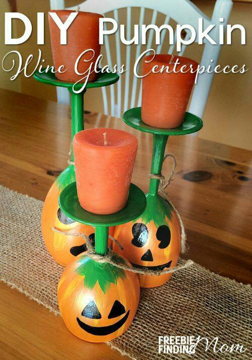 Pumpkin Wine Glass Candle Holder Centerpieces...these are the BEST Fall Craft Ideas & DIY Home Decor Projects!