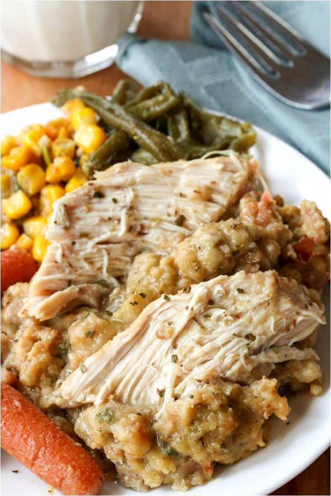 Crock Pot Chicken and Stuffing...these are the BEST Comfort Food Recipes!