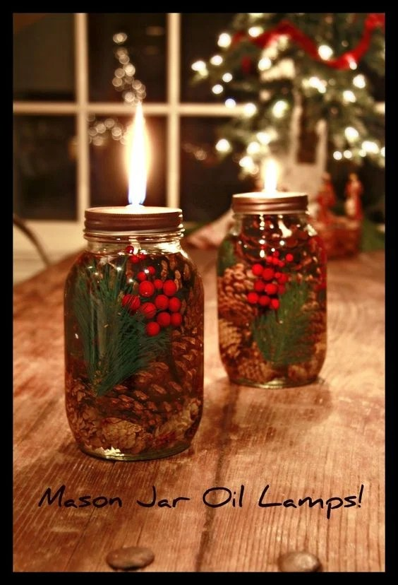 DIY Oil Lamps...these are the BEST Christmas Mason Jar Ideas!