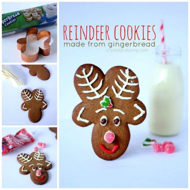 Reindeer Cookies made from a Gingerbread Man Cookie Cutter....these are the BEST Christmas Cookie Recipes!