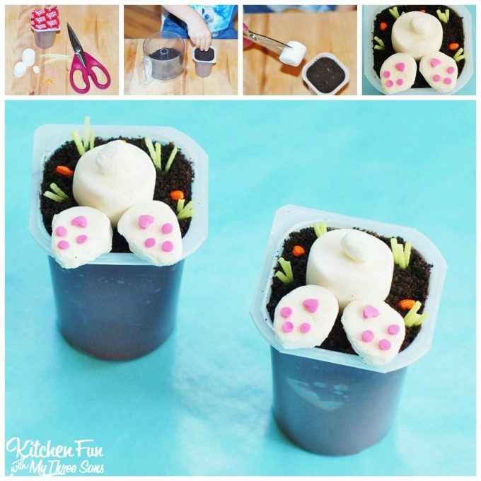Easter Bunny Butt Chocolate Pudding Cups