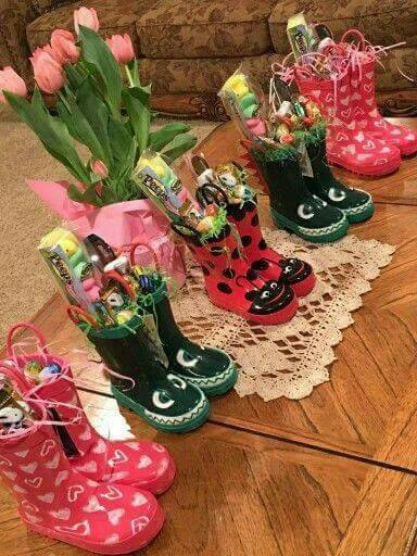 Rain Boots Easter Baskets...these are the BEST Easter Basket Ideas!