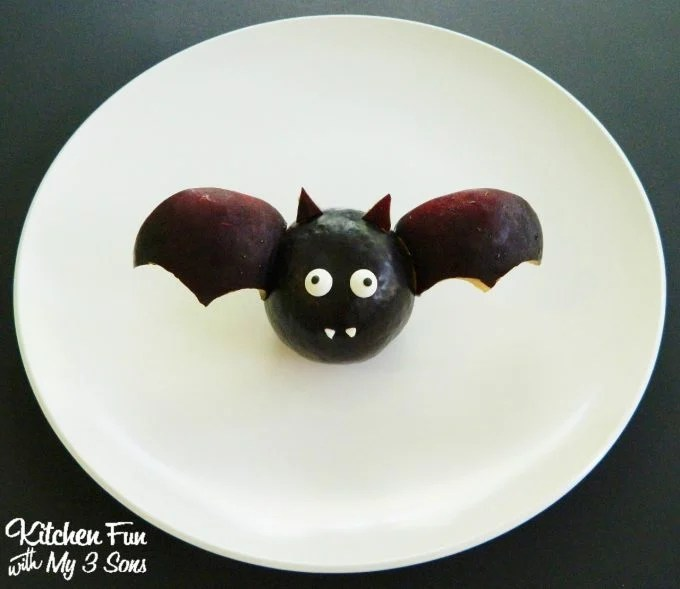 Halloween Fruit Bat made with a Plum...so cute!