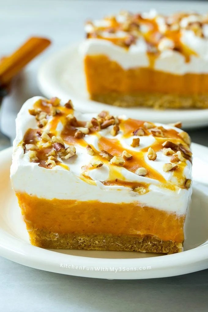 This easy no-bake pumpkin lush is layers of graham cracker crust, pumpkin pudding and whipped topping, all topped with caramel and pecans. The ultimate fall dessert!