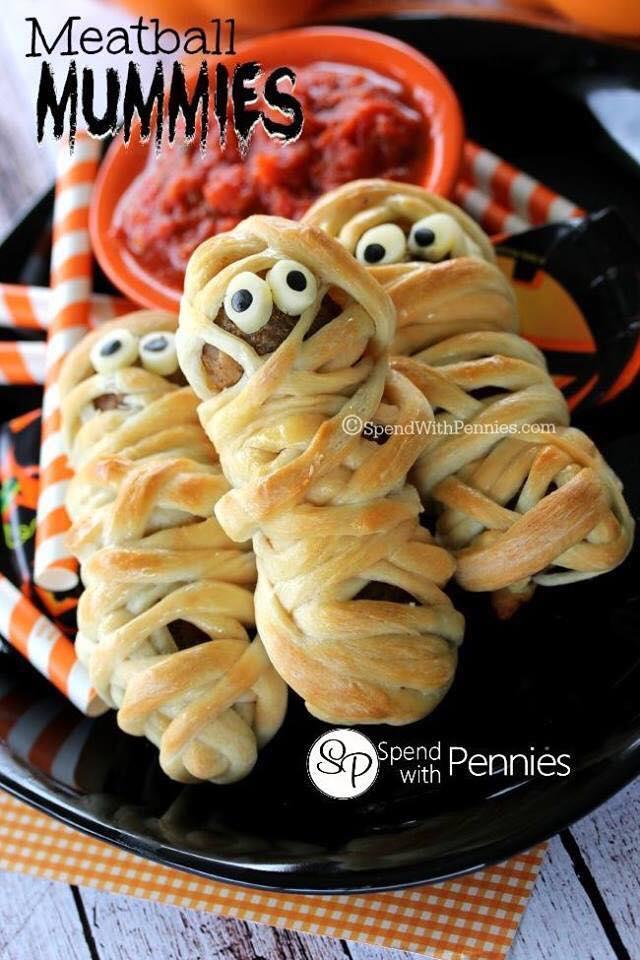 Halloween Meatball Mummies
