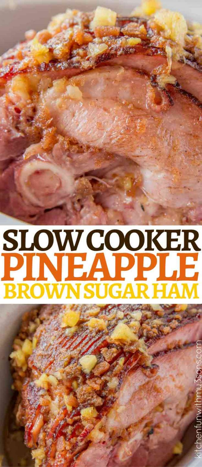 Slow Cooker Brown Sugar Pineapple Ham with a sweet and tangy topping, this is the perfectly sweet and spiced ham your family will love! And no oven space needed!
