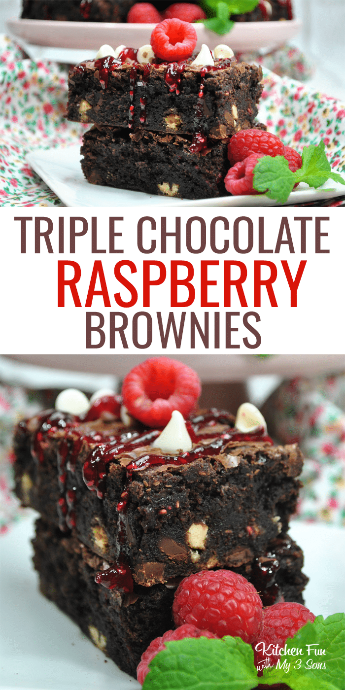 Triple Chocolate Raspberry Brownies