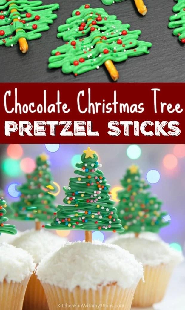Chocolate Christmas Tree Pretzel Sticks
