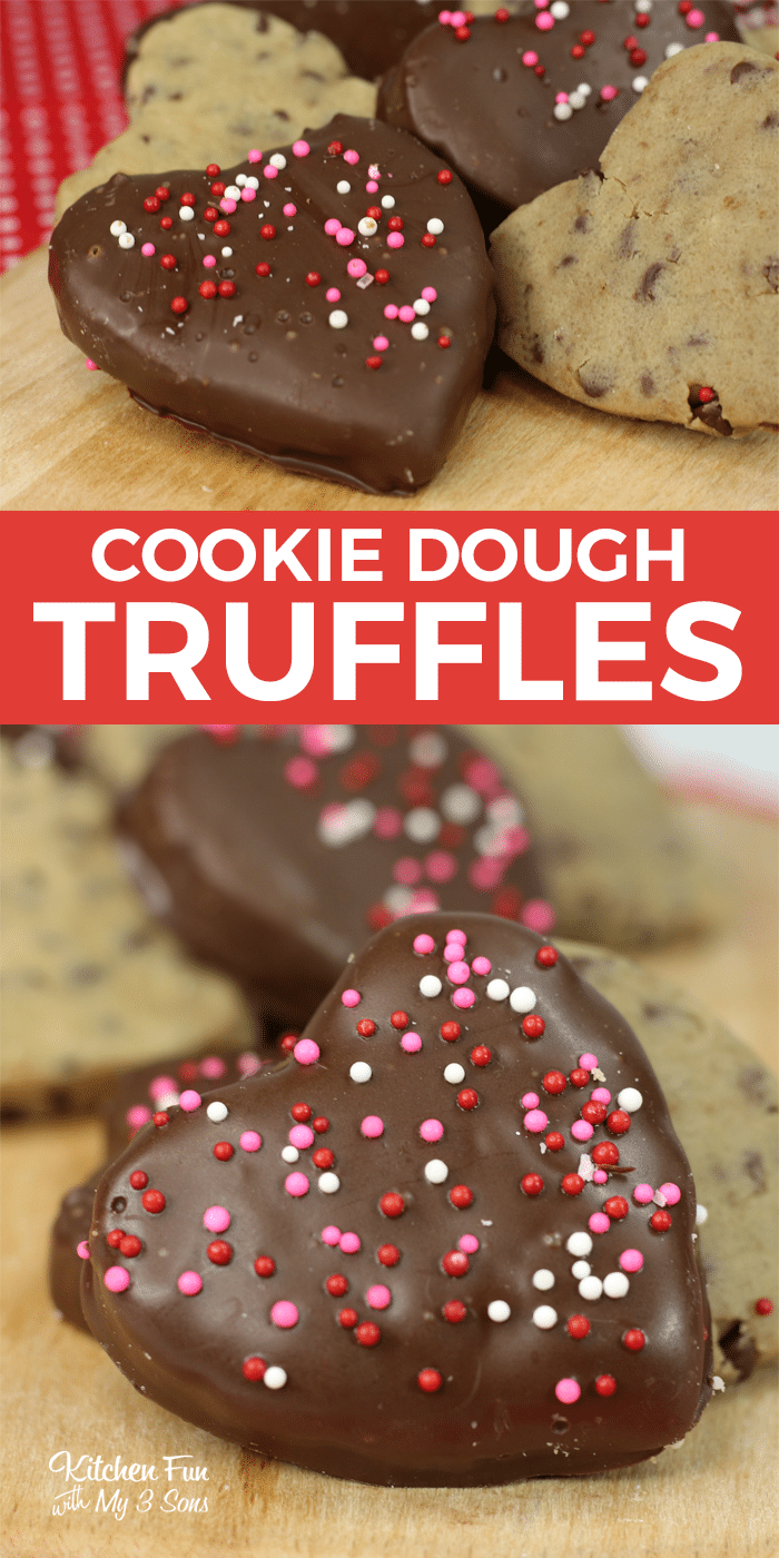 Chocolate Chip Cookie Dough Truffles are an adorable snack for Valentine's Day. This eggless cookie dough dipped in Ghirardelli chocolate is delicious!