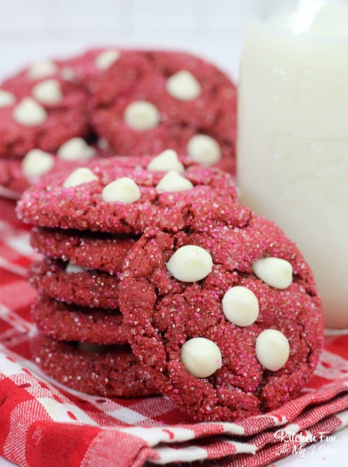 Red Velvet White Chocolate Chip Cookies are a great dessert to make for Valentine's Day. These cookies are moist and chewy just like a good cookie should be!