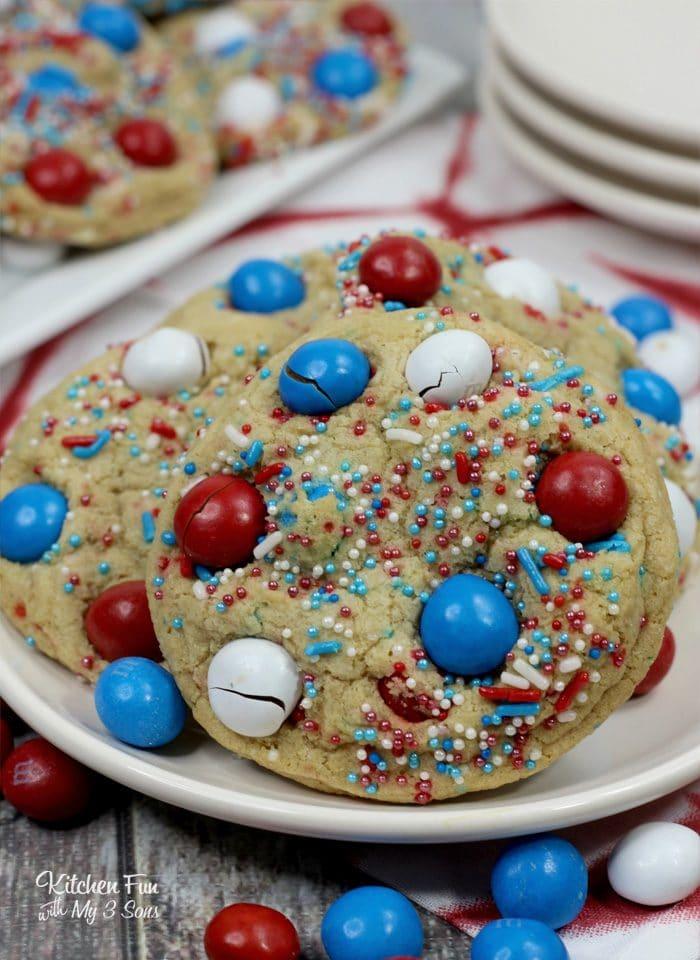 Patriotic M&M Fire Works Cookies