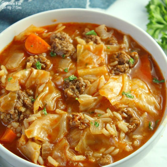 bowl of cabbage roll soup