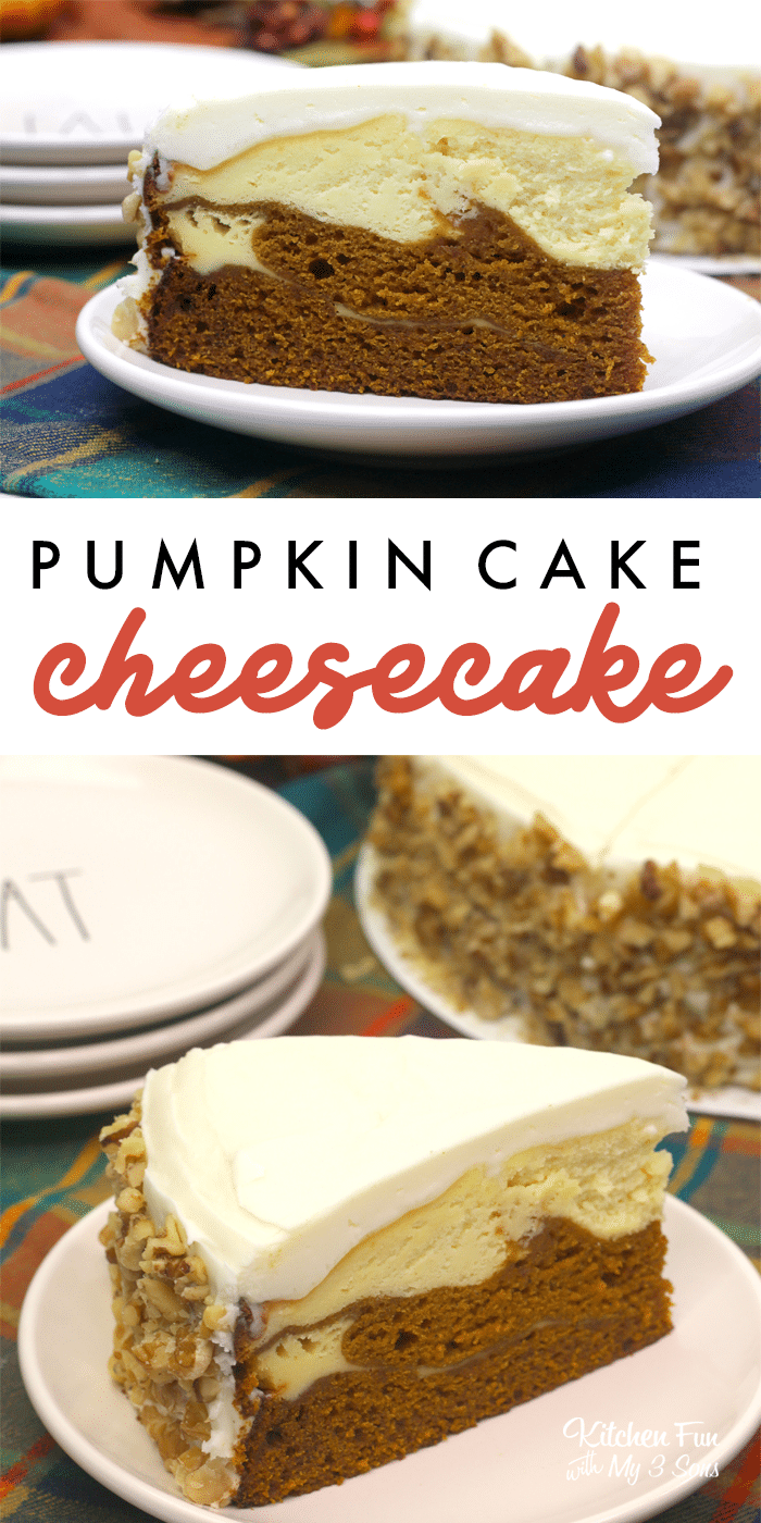 Pumpkin Cake Cheesecake is a double layered dessert with pumpkin cake and pumpkin cheesecake. It is the most delicious fall recipe for all you pumpkin lovers. | Fall Desserts | Pumpkin Desserts