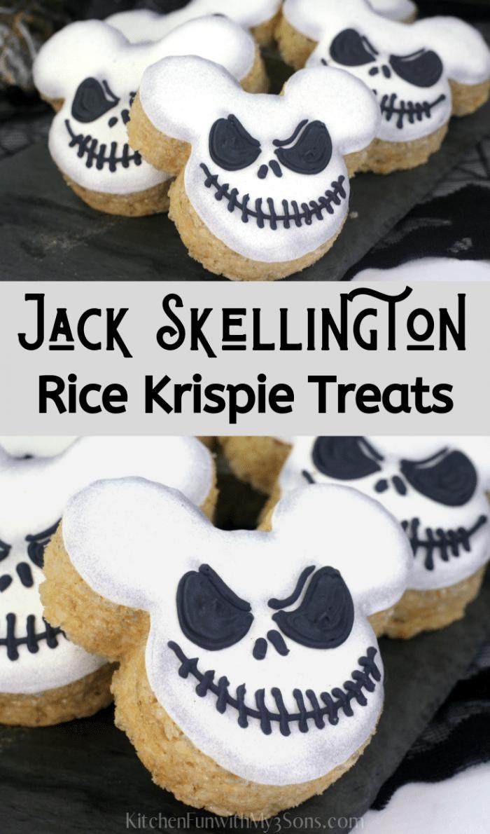 Black Skellington Rice Krispie Treats sitting on a black napkin