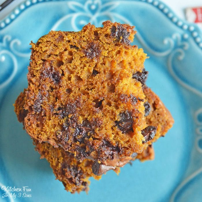 Pumpkin Chocolate Chip Bread is my all-time favorite fall treat. This is perfect for breakfast or a quick snack. Your whole house will smell of pumpkin spice and cinnamon!