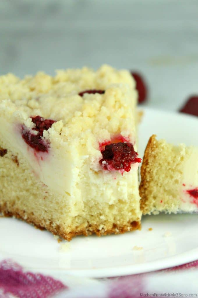 Coffee Cake with layers of cream cheese and raspberries