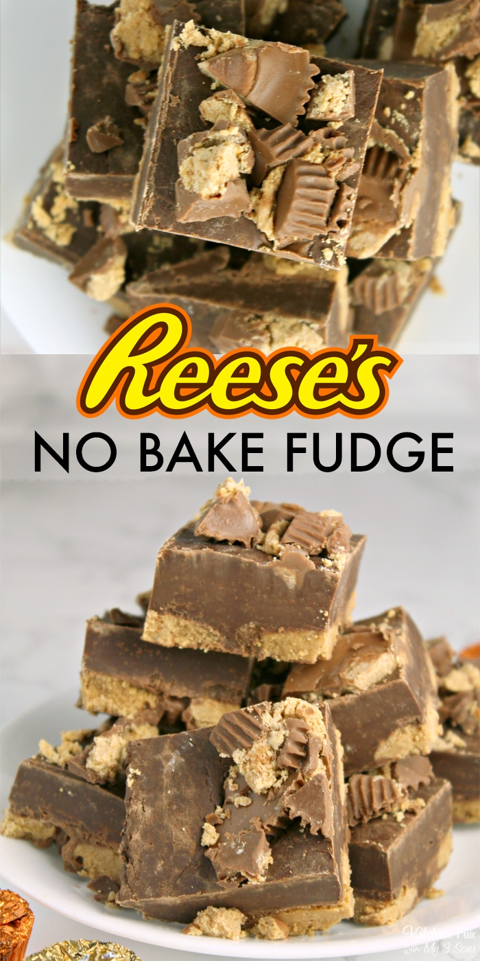 Reese's Peanut Butter Cup Fudge is so delicious and the best part is that it takes three ingredients and no baking.