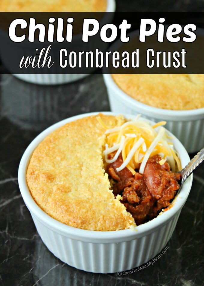 This Chili Pot Pie is served in an individual sized pot with a homemade cornbread crust. The perfect dinner idea for the family on a cold winter day.