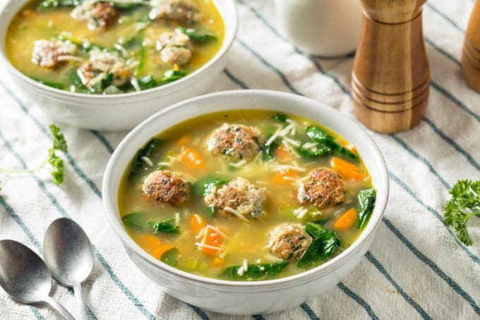 Homemade Soup with Meatballs