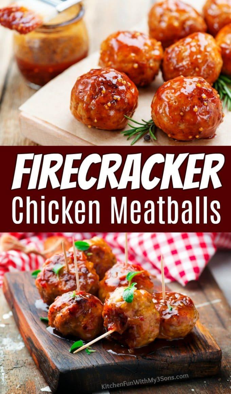 Firecracker Chicken Meatballs Collage