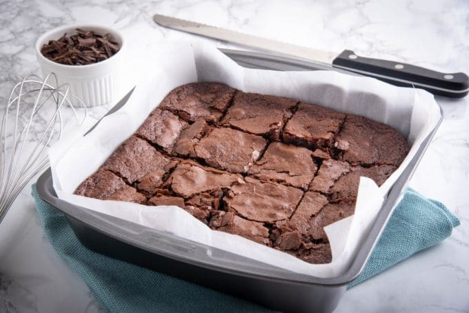 Baked Chocolate Brownies in a baking pan
