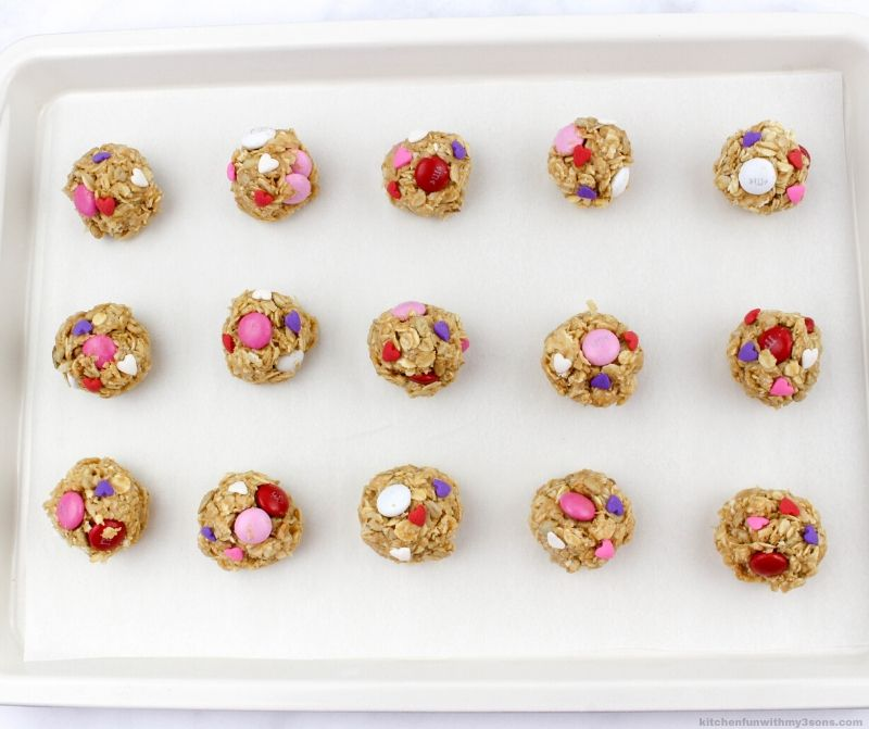 Valentine's Day Oatmeal Balls on a cookie sheet