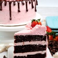 slice of chocolate strawberry cake