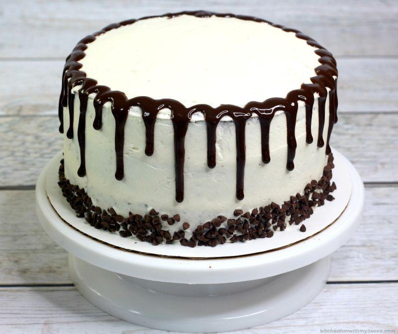 chocolate ganache over a cake