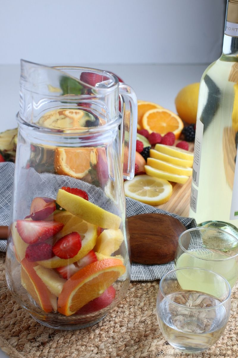fruit in a pitcher