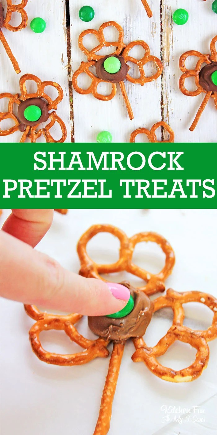 Shamrock Pretzels are the cutest St. Patrick's Day treat ever! These yummy snacks with pretzels, Rolos and M&Ms look like edible four leaf clovers.