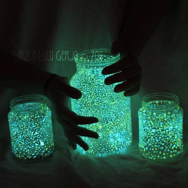 Glowing Mason Jar Night Lights
